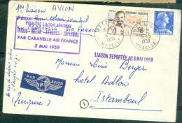 1er Liaison Aérienne - Paris-Milan -Athènes-Istanboul Par Caravelle Air France 5/05/1959 - Malb5409 - Poste Aérienne