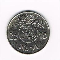 ***  SAUDI  ARABIA  25  HALALA (1/4 RIYAL) 1408 (1988) - Arabie Saoudite