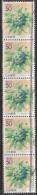 Japan,  - 50y Butterbur Flower, Striscia Di 5 - Usato° - Blocks & Sheetlets