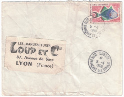 Cote F. Somalis - Lettre Avion 1960 Cad Manuel DJIBOUTI Timbre 25F Poisson Pseudobaliste Pour Lyon France - Somalie (1960-...)
