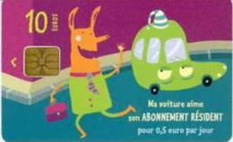 # Carte De Stationnement Pariscarte 1101 - Resident 10 Euros Sa1 Verso 11  - Tres Bon Etat - - Parkkarten