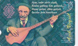Turkey, N-128b, 30 Units, Turkish Folk Poets, Asik Veysel, 2 Scans.   Plasteknik - Turchia