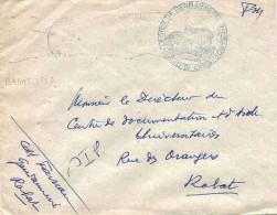 Maroc Marokko Morocco Marruecos Rabat 1956 Lettre FM Gendarmerie Cover Brief Carta - Marokko (1891-1956)