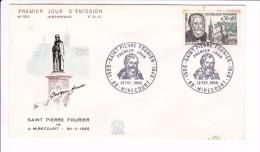 Enveloppe Premier Jour 1er FDC Saint Pierre Fourier Mirecourt  N° 554 1966 (tachée) - 1960-1969