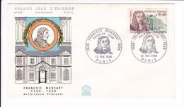 Enveloppe Premier Jour 1er FDC François Mansart Paris N° 555 1966 (tachée) - 1960-1969
