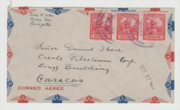 Ven076/ Brief (cover) Bolivar Denkmal  , Caracaaaaaaas Im 3-er Streifen Von Caripeto Nach Caracas 1943 - Venezuela