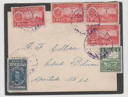 Ven007a/  VENEZUELA - Brief (cover,lettre ) Trauerbrief, Caracas Nach Bolivien 1939, Schön Frankiert - Venezuela
