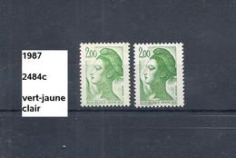 Variété De 1987 Neuf** Y&T N° 2484+c Vert-jaune Clair - Varietà: 1980-89 Nuovi