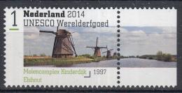 Nederland - Uitgiftedatum 11 Augustus 2014 – UNESCO Werelderfgoed - Molencomplex Kinderdijk-Elshout - MNH/postfris - Period 2013-... (Willem-Alexander)