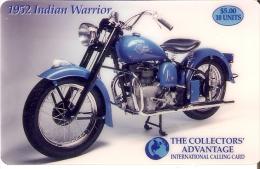 TARJETA DE ESTADOS UNIDOS DE UNA MOTO INDIAN WARRIOR (MOTORBIKE) USA - NUEVAS-MINT - Estados Unidos