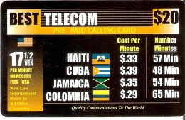 TARJETA DE ESTADOS UNIDOS CON BANDERAS - FLAG (HAITI-CUBA-JAMAICA-COLOMBIA) ( USA) - Estados Unidos