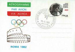 1982 AEROGRAMMA 450 L 1982 OLIMPIADE C.I.O. FDC ORISTANO TELEGRAFO - Stamped Stationery