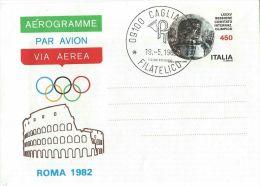 1982 AEROGRAMMA 450 L 1982 OLIMPIADE C.I.O. FDC CAGLIARI - Stamped Stationery