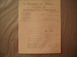 VERMAND AISNE ETABLISSEMENTS PAUL POUPLIER MANUFACTURE DE BRODERIES ET TULLES UNIS COURRIER DU 20 SEPTEMBRE 1935 - Kleidung & Textil