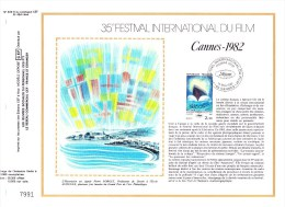 2212 (Yvert) Sur Feuillet 633 S Du Catalogue CEF (454 / Soie) - 35ème Festival International Du Film, à Cannes - 1982 - FDC