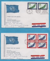 UNITED NATIONS NEW YORK  FDC N° 203  204 (YT) 25ème ANNIVERSAIRE DE L'O.N.U. 2 ENVELOPPES - Lettres & Documents