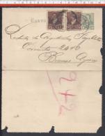 ARGENTINE - 1893 -  CARTE-LETTRE 2 CENTAVOS AVEC COMPLEMENT D'AFFRANCHISSEMENT DE SANTA-FE VERS BUENOS-AYRES - - Interi Postali