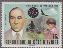Jules Bordet, Mountain, Microbiology, Nobel Prize In Medicine, Butterfly, Eagle, Petri Dish, MNH Ivory Coa - Médecine