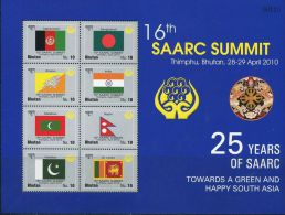 SA0021 Bhutan 2010 South Asian Summit Countries Flags S/S(8) MNH - Bhutan