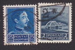Albania, Scott #255, 258, Used, King Zog I. Zog Bridge, Issued 1930 - Albania