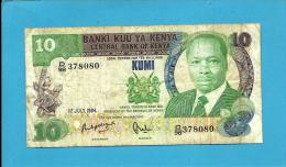 KENYA - 10 Shillings - 01.07.1984 - Pick 20.c - President Daniel Toirotich Arap Moi - 2 Scans - Kenya