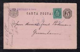 Rumänien Romania 1885 Uprated Stationery CRAIOVA To GROSSENHEIM Germany - Briefe U. Dokumente