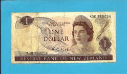 New Zealand - 1 Dollar - ND ( 1968 - 1975 ) - Pick 163.b - Sign. D. L. Wilks - Queen Elizabeth II / Bird - 2 Scans - New Zealand