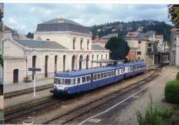 CP Trains - 12 Aveyron - Autorail X 2812 Et XR 6070 Quittent La Gare De Villefranche De Rouergue - Cp N° 132 - Villefranche De Rouergue