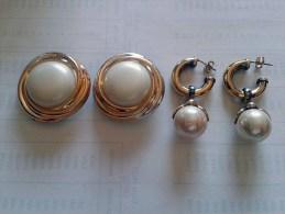 Da Eredità: Bigiotteria Vintage Anni 1980 Orecchini Metallo Dorato E Plastica Con Perla-Earrings-Boucles - Orecchini