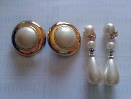 Da Eredità: Bigiotteria Vintage Anni 1980 Orecchini Chiusura A Clip Metallo E Plastica Perle-Earrings-Boucles - Orecchini