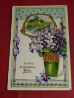 FANTAISIES - BONNE Et HEUREUSE  FÊTE - Vase Fleuri - Carte Gaufrée   -  1911  - (2 Scans) - Fêtes - Voeux