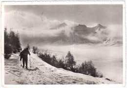 TRENTO LE TRE CIME DI BONDONE D'INVERNO VIAGGIATA 1963 - Trento