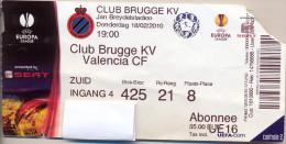 Ticket Voetbal Club Brugge KV - Valencia CF  - UEFA Europa Ligue - 2010 - Tickets - Entradas