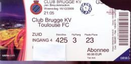 Ticket Voetbal Club Brugge KV - Toulouse FC - UEFA Europa Ligue - 2009 - Tickets - Entradas