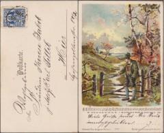 Allemagne, Munich 1899. Montagnard En Tenue Traditionnelle, Partition. Timbre E La Poste Locale Courier (enfant, Blason) - Music
