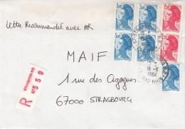 Env Reco Affr Y&T 2320 X 5 + 2319 X 2 Obl STRASBOURG R.P. Du 19.11.1984 - Postmark Collection (Covers)