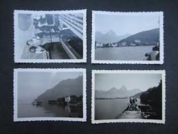 LOT 4 PHOTOS (M1517) SUISSE (2 Vues) LAC DES 4 CANTONS 1949 Guillaume Tell, Brunnen, Débarcadère De Treil (seelisber) - Places