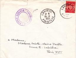 15041# FRANCHISE MILITAIRE N° 12 ROUGE LETTRE ECOLE NAVALE Obl LANVEOC FINISTERE 1955 - Marcophilie (Lettres)