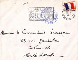 15042# FRANCHISE MILITAIRE N° 13 FM LETTRE ECOLE APPLICATION DU TRAIN Obl TOURS INDRE ET LOIRE 1965 LUNEVILLE MEURTHE - Marcophilie (Lettres)