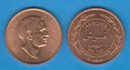 JORDAN  / JORDANIA  10 Fils (Qirsh , Piastre) 1.975  BRONCE  KM#16  EBC/SC   XF/UNC    T-DL-11.358 - Jordanie