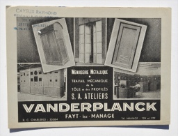 Buvard Des ATELIERS VANDERPLANCK à FAYT-lez-MANAGE (Menuiserie Métallique) - Carte Assorbenti