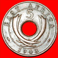 ★HOLE: EAST AFRICA ★5 CENTS 1943SA! LOW START★NO RESERVE! GEORGE VI (1937-1952) - British Colony