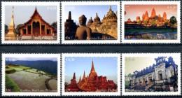 ONU Vienne 2015 - Patrimoine Mondial Asie - 6 Timbres Détachés De Carnet De Prestige ** MNH PF - Unused Stamps