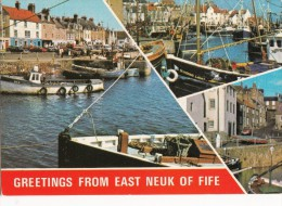 POSTCARD EAST NEUK FIFE POSTED 1977 SCOTLAND MULTIVIEW FISHERMEN TRAWLERS COLOUR - Fife