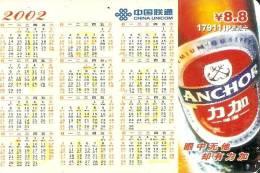 TARJETA DE CHINA DE CERVEZA ANCHOR  (BEER) CALENDARIO - Publicidad