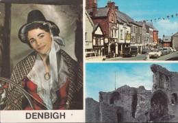 POSTCARD DENBIGH HIGH STREET WELSH LADY IN COSTUME RPPC MV COLOUR 1973 - Denbighshire
