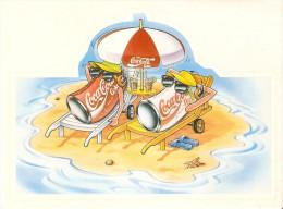 ADHESIVO DE COCA-COLA (COKE) 2 LATAS DE VACACIONES TOMANDO EL SOL 19cm X 14cm. - Advertising Posters