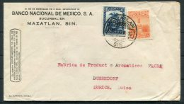 1933 Banco Nacional De Mexico Mazatlan Cover - Dubendorf Zurich Switzerland - Mexico