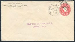 1900 USA First National Bank Manistee Mich. Stationery Cover - Peoples Savings Bank Detroit - United States