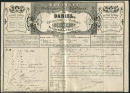 1851 Ordinaires Et Acceleres Daniel Entrepreneur De Roulages ROUEN 35 Cents Timbre Fiscal - 1800 – 1899
